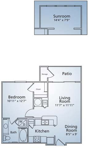 760 sq. ft. A1S floor plan