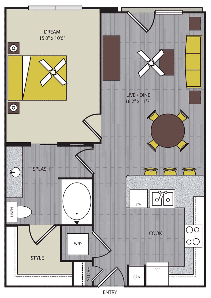 705 sq. ft. to 738 sq. ft. A4 floor plan