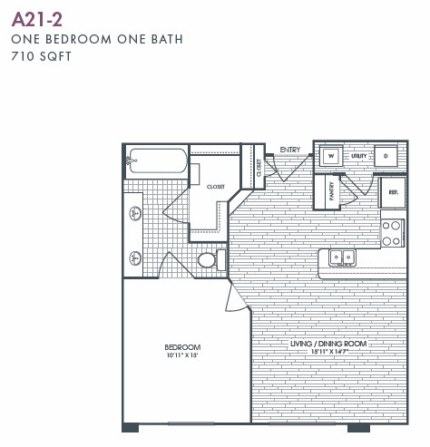 710 sq. ft. A21-2 floor plan