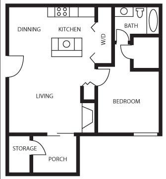 644 sq. ft. Willow floor plan