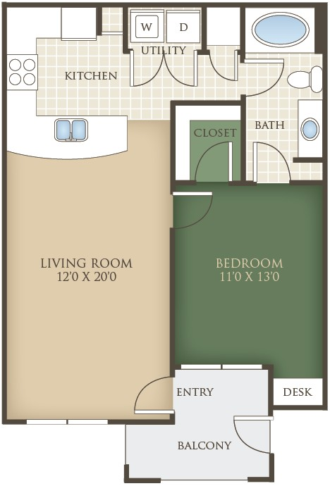 712 sq. ft. A1 floor plan