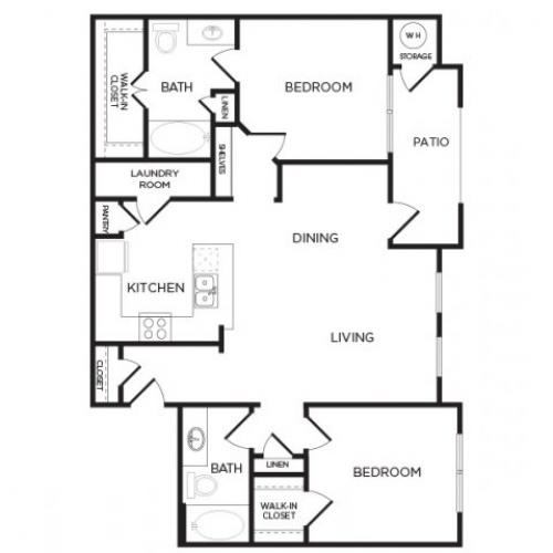 1,069 sq. ft. B3 floor plan