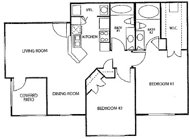 886 sq. ft. 60% floor plan