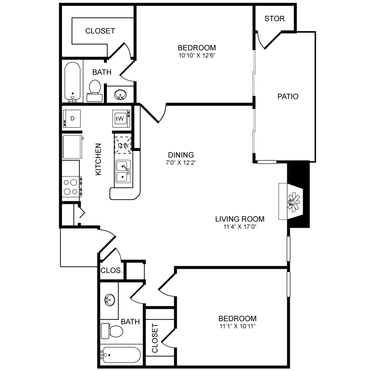 957 sq. ft. B5 floor plan