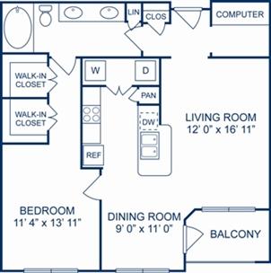 888 sq. ft. Monaco floor plan