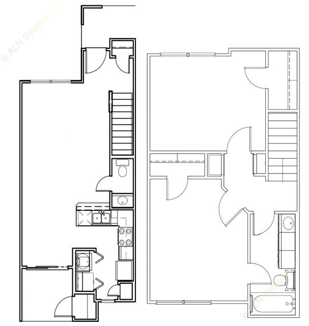 990 sq. ft. Brazos/50% floor plan