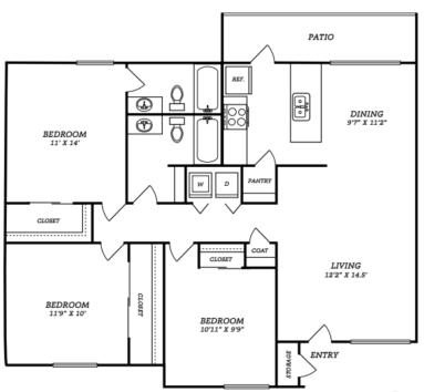 1,158 sq. ft. C1 floor plan