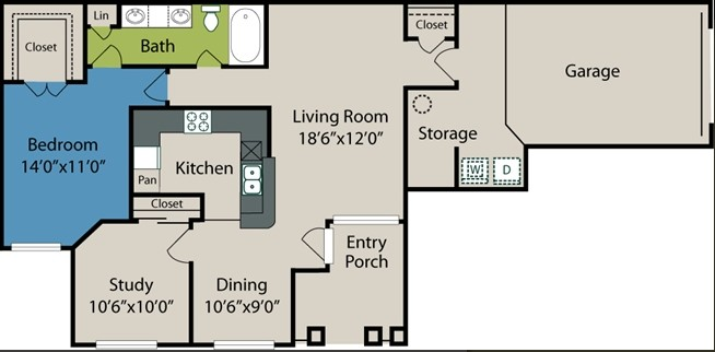 960 sq. ft. A5 floor plan