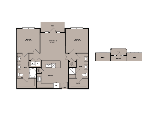 1,093 sq. ft. B1-S.1 floor plan