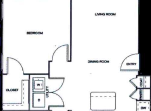 717 sq. ft. 50% floor plan