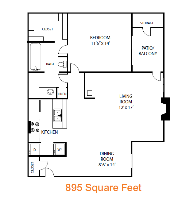 895 sq. ft. Redwood floor plan