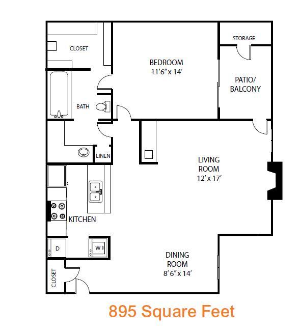 895 sq. ft. Redwood floor plan