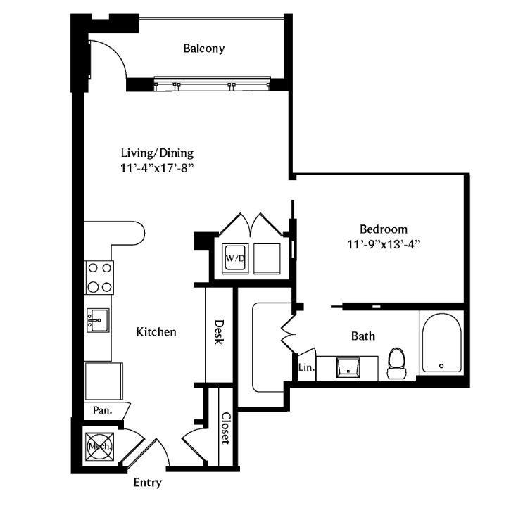 673 sq. ft. A3A floor plan