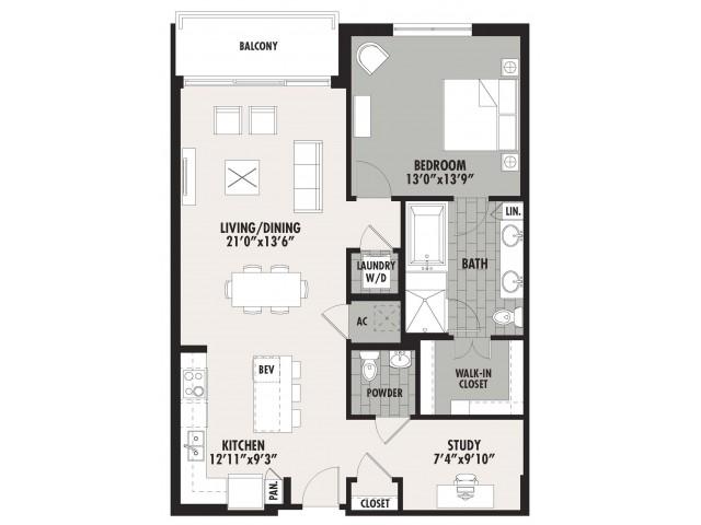 1,097 sq. ft. A10 floor plan