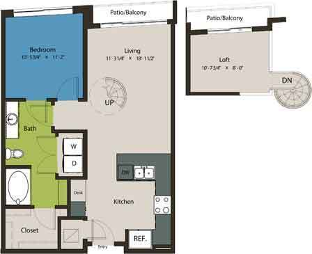 838 sq. ft. A1L-L1 floor plan