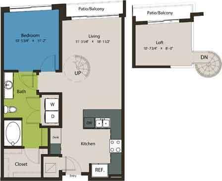 838 sq. ft. A1L-L1 floor plan