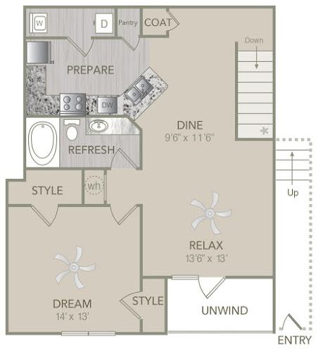 953 sq. ft. A2U floor plan