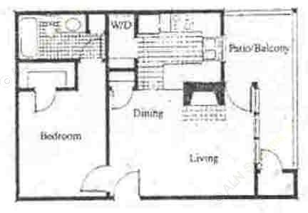 648 sq. ft. A2 floor plan