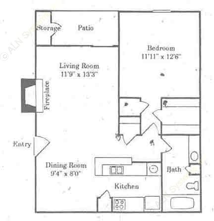 700 sq. ft. A1/ANGELINA floor plan