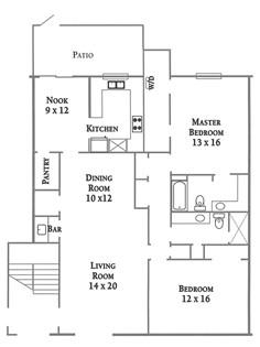 1,402 sq. ft. Plan D or Plan E floor plan