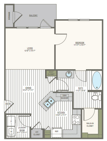 765 sq. ft. 1B floor plan