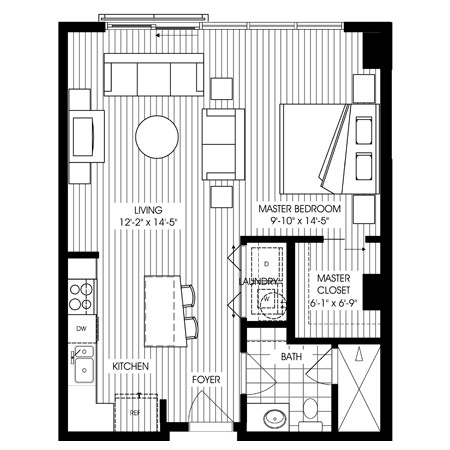 677 sq. ft. A18 floor plan