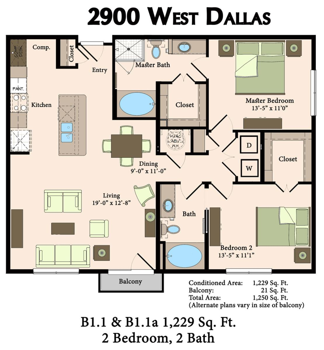 1,229 sq. ft. B1.1,B1.1A floor plan