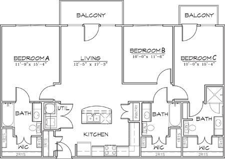 1,236 sq. ft. floor plan