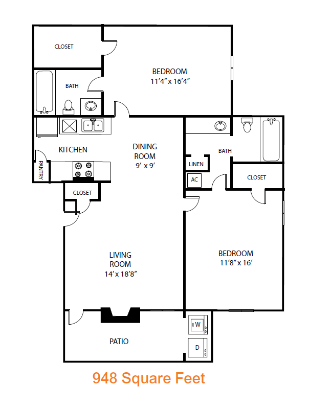 948 sq. ft. Willow floor plan