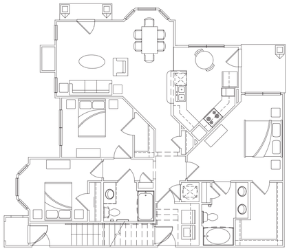 1,376 sq. ft. C-1 Lower floor plan