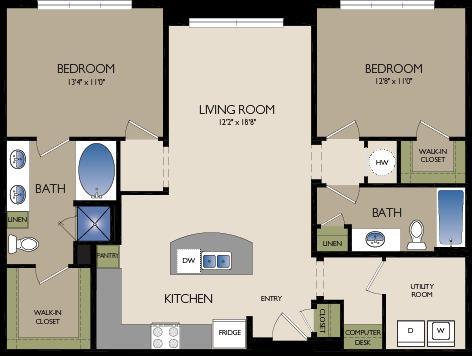 1,178 sq. ft. B2 floor plan