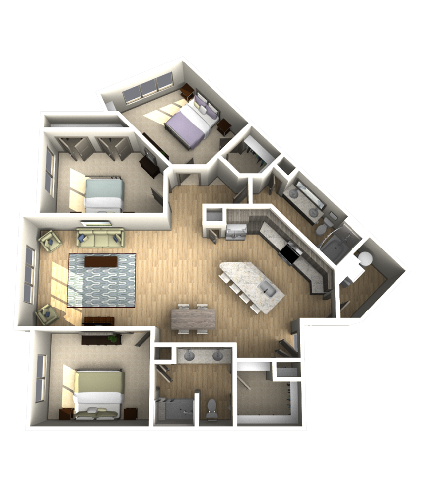 1,588 sq. ft. C1 floor plan