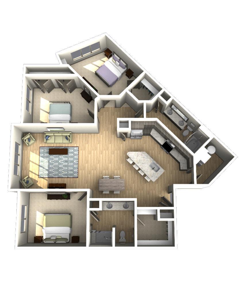 1,588 sq. ft. C1 floor plan