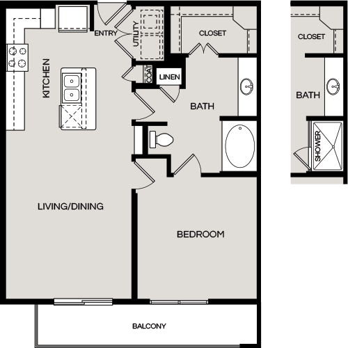 822 sq. ft. A2.1 floor plan