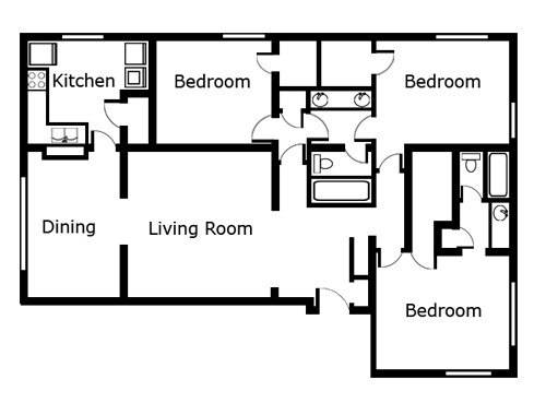 1,565 sq. ft. C3 floor plan