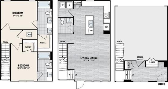 1,480 sq. ft. TH floor plan