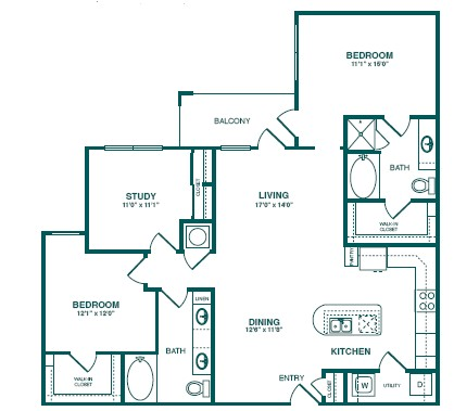 1,403 sq. ft. D1 floor plan
