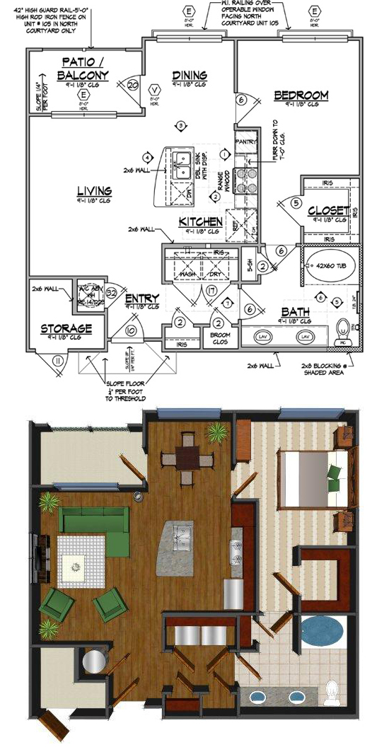 780 sq. ft. E floor plan