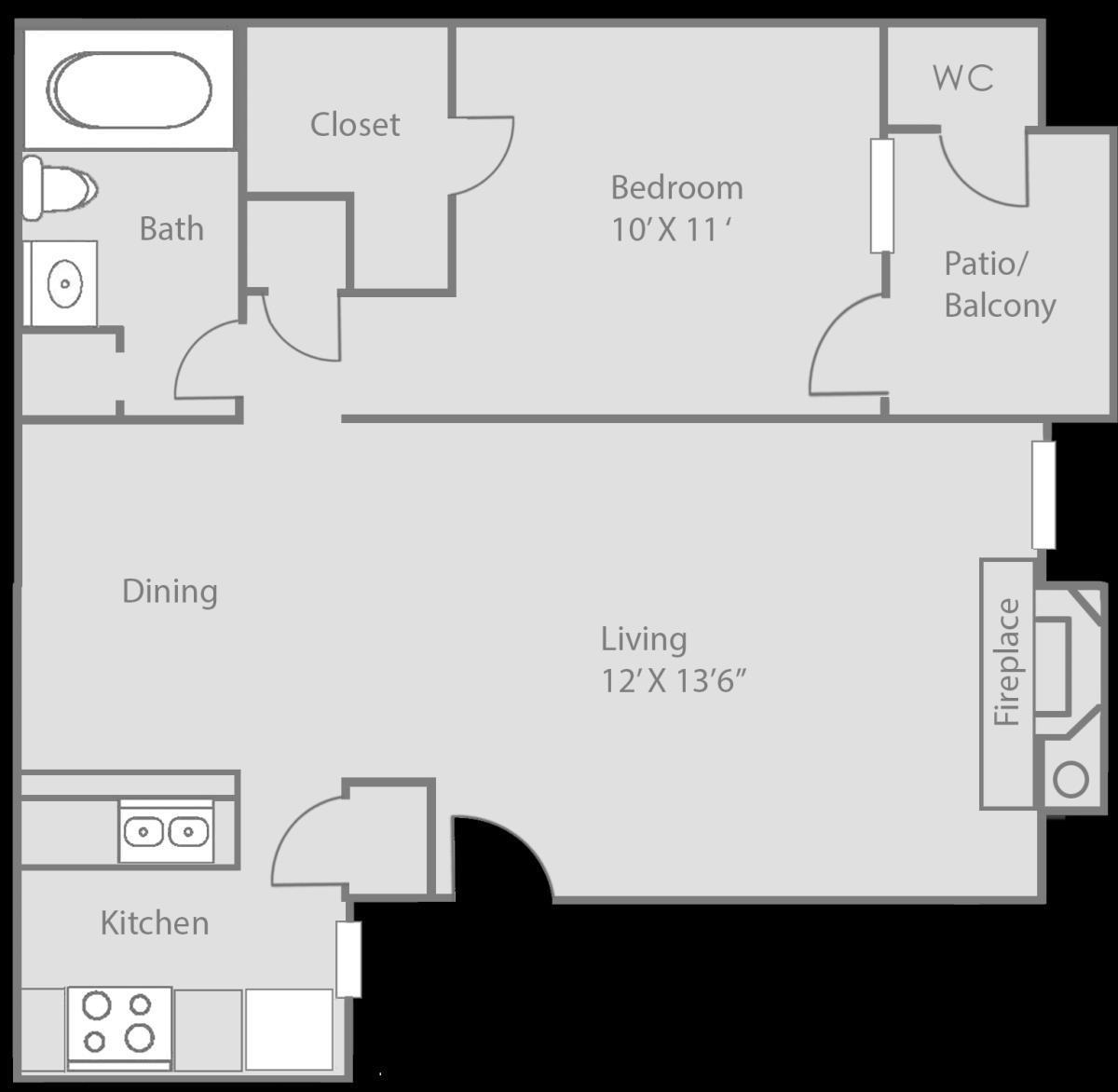 622 sq. ft. Benbrook floor plan