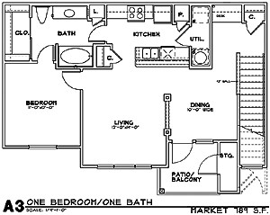 843 sq. ft. A3G floor plan