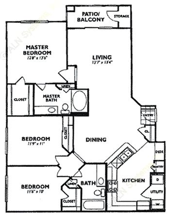 1,304 sq. ft. C2 floor plan