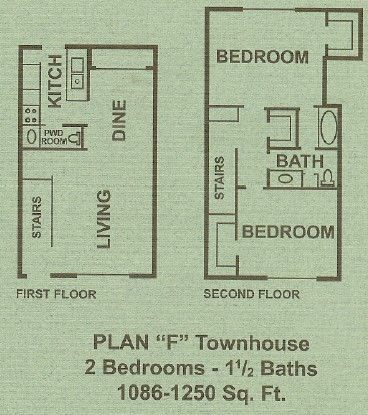 1,086 sq. ft. to 1,250 sq. ft. F floor plan