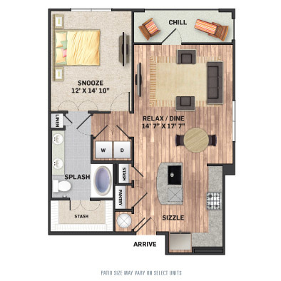 855 sq. ft. A3.1 floor plan