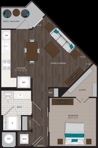 599 sq. ft. A6 floor plan