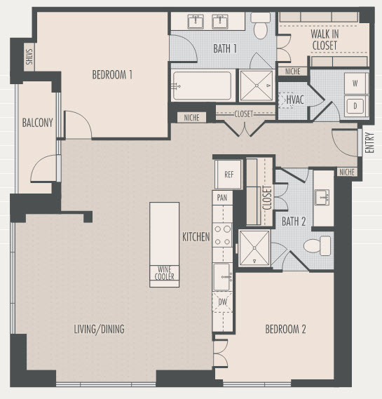 1,454 sq. ft. B1 floor plan