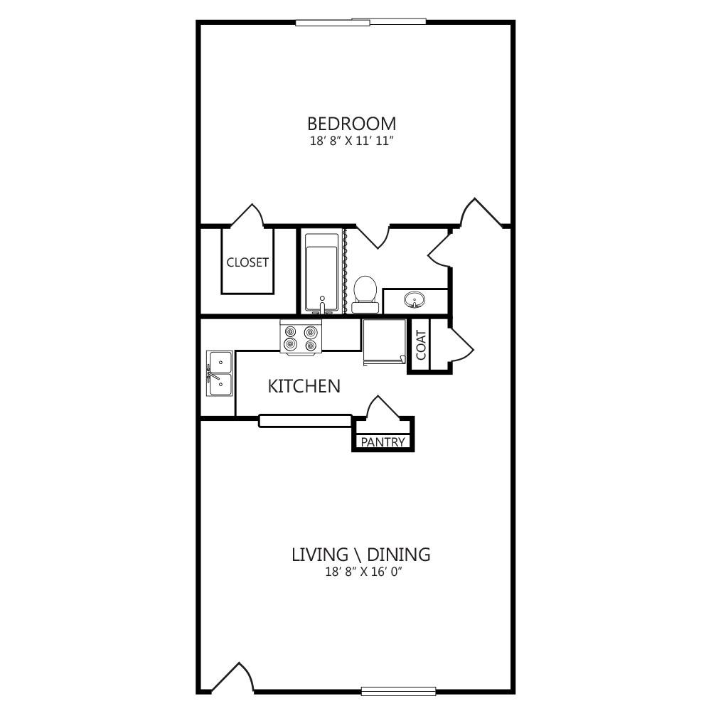 627 sq. ft. A3 floor plan
