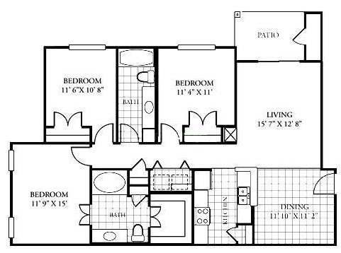1,228 sq. ft. C1/60% floor plan