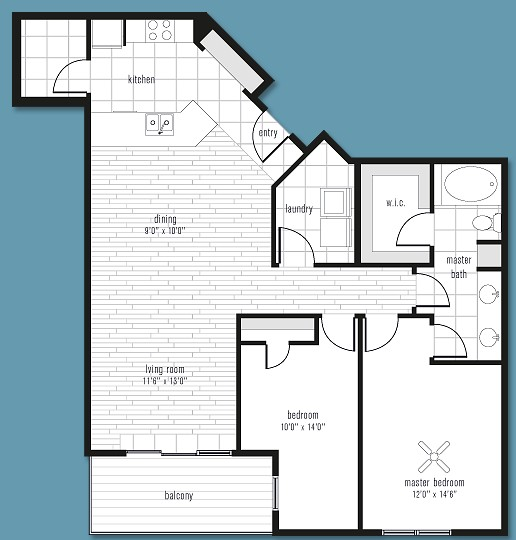 1,261 sq. ft. to 1,364 sq. ft. H floor plan