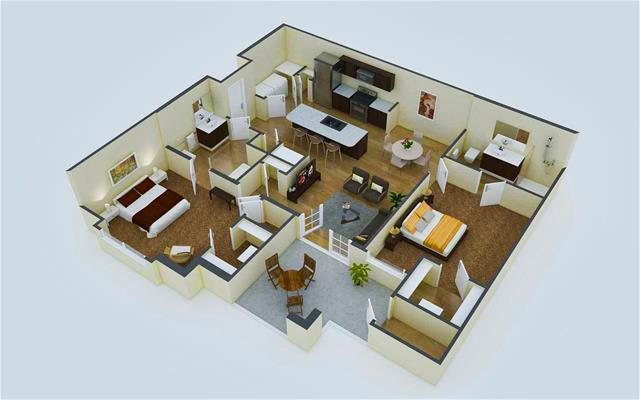 1,037 sq. ft. B1 floor plan