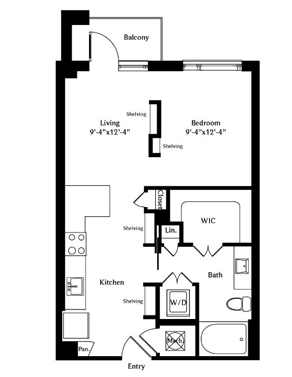 600 sq. ft. A02 floor plan